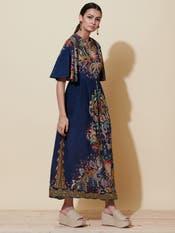 Navy Blue Floral Print Dress