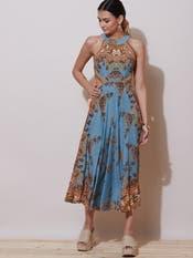 Denim Blue Floral Cut-Out Dress