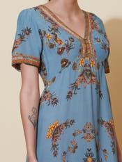 Denim Blue Floral Print Long Dress