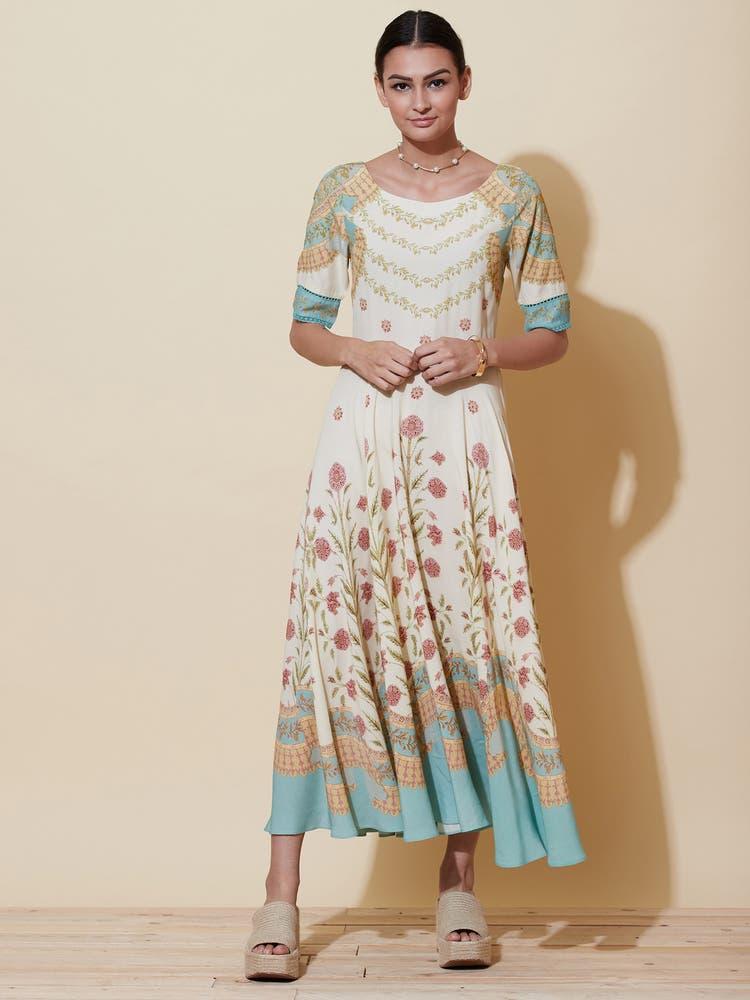 Ecru Floral Print Maxi Dress