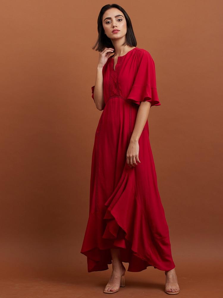 Cherry Red Midi Dress