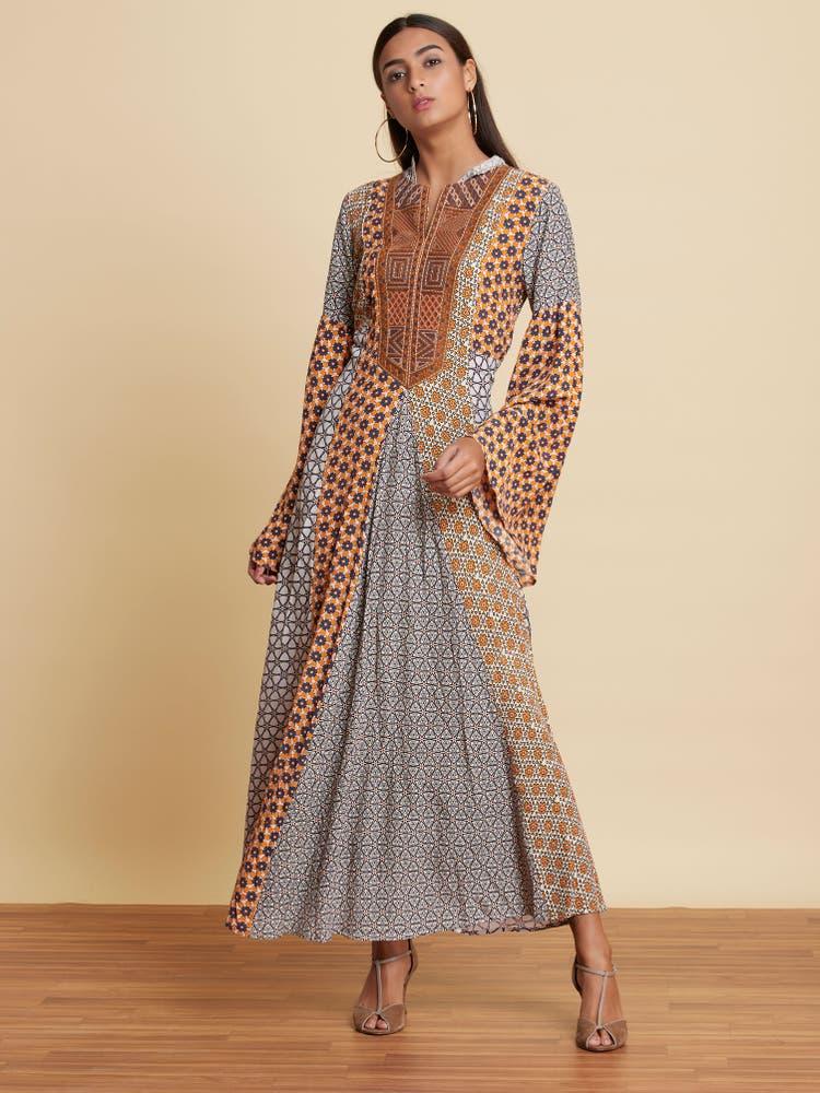 Multi-Color Geometric Print Long Dress