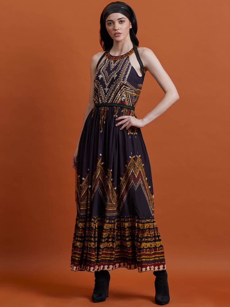 Charcoal Printed Long Dress