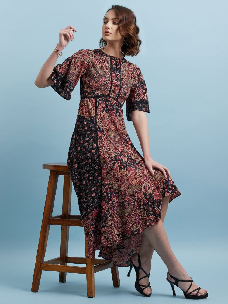 Black Floral Print Long Dress