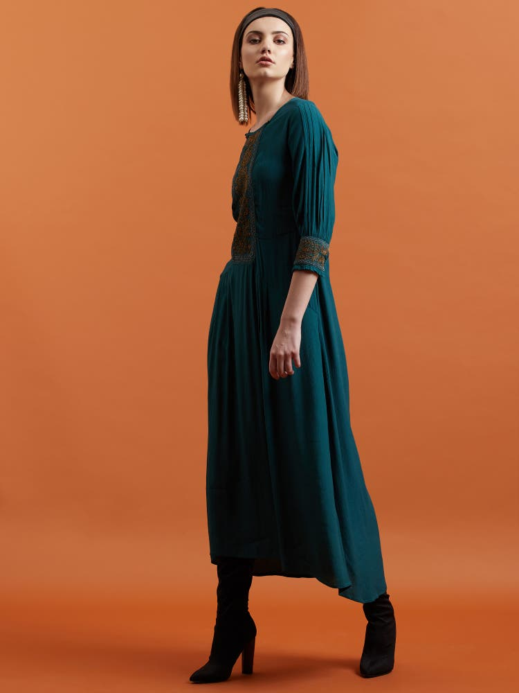 Emerald Green Crepe Long Dress