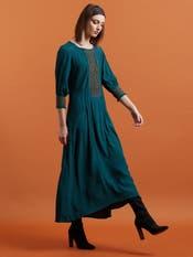 Emerald Green Crepe Long Dress