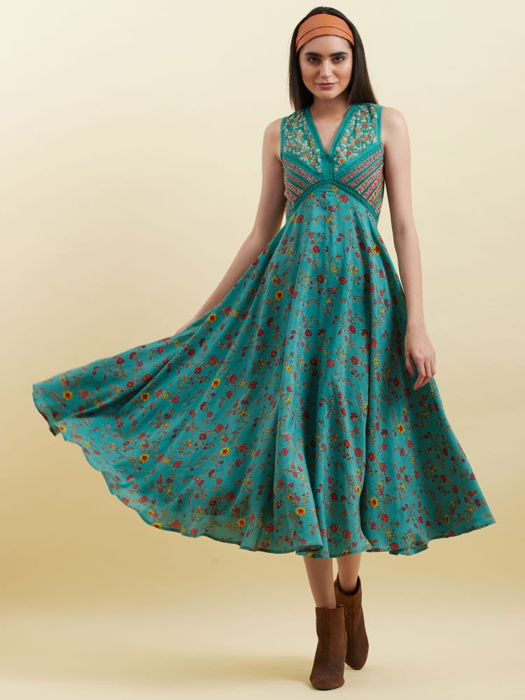 Green Floral Print Long Dress