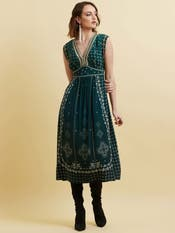 Teal Green Printed Crepe Long Dress
