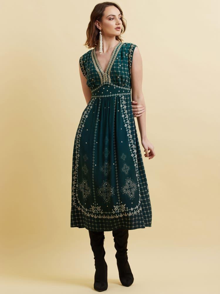 Teal Green Printed Crepe Long Dress