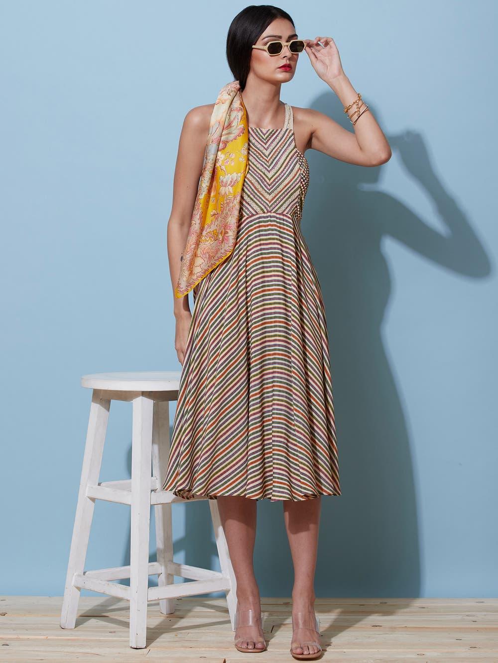 Multi-Hued Striped Midi Dress