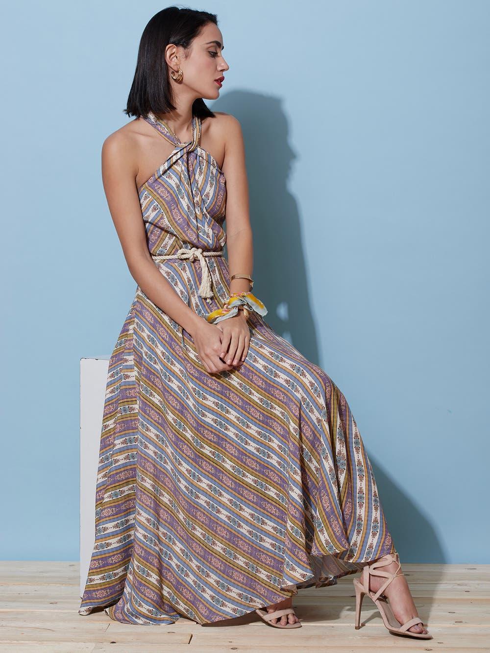 Multi-Coloured Geometric Midi Dress