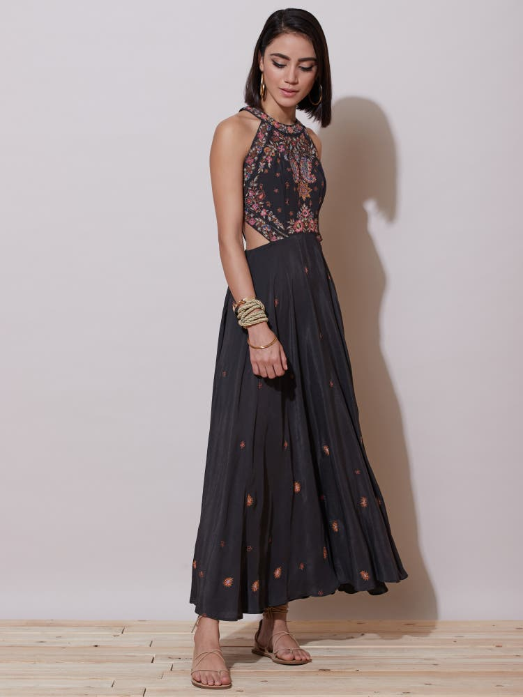 Grey Embroidered Cut-Out Long Dress