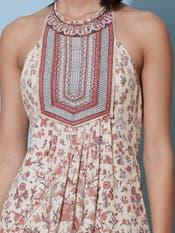 Ecru Floral Print Halter Long Dress