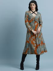 Rust & Teal Floral Flared Dress