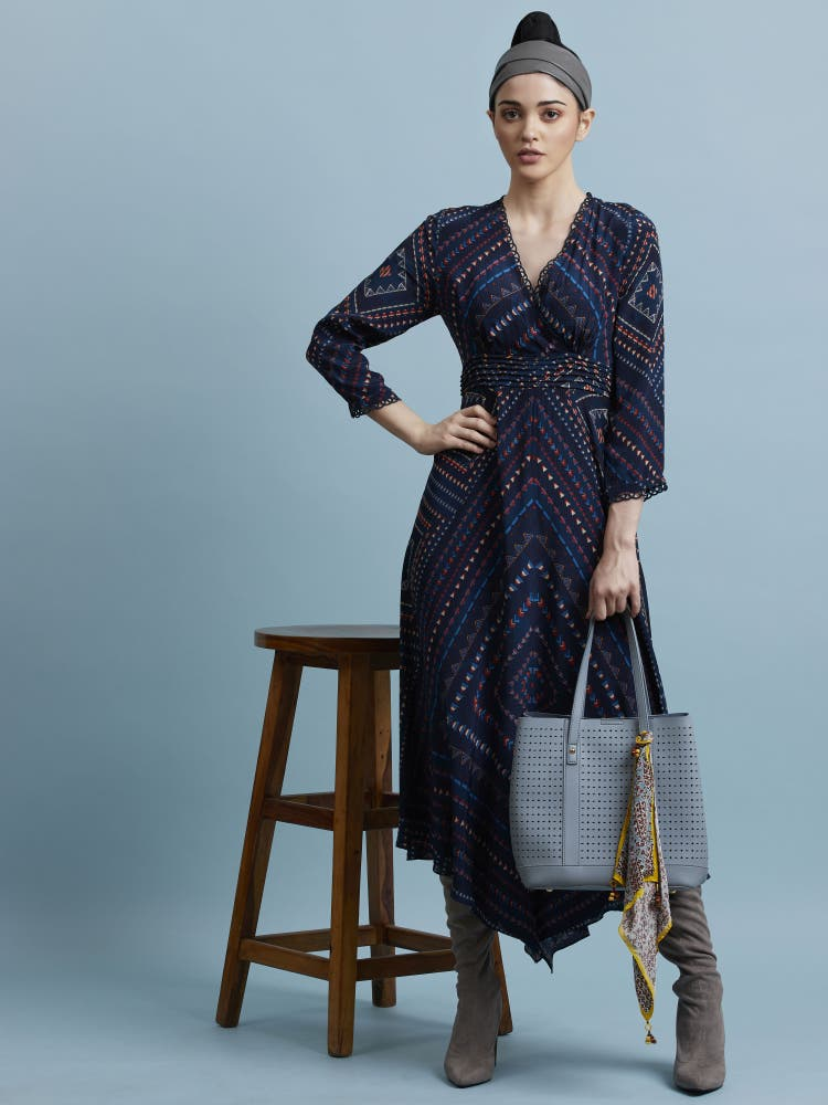 Blue Asymmetric Geometric Printed Long Dress