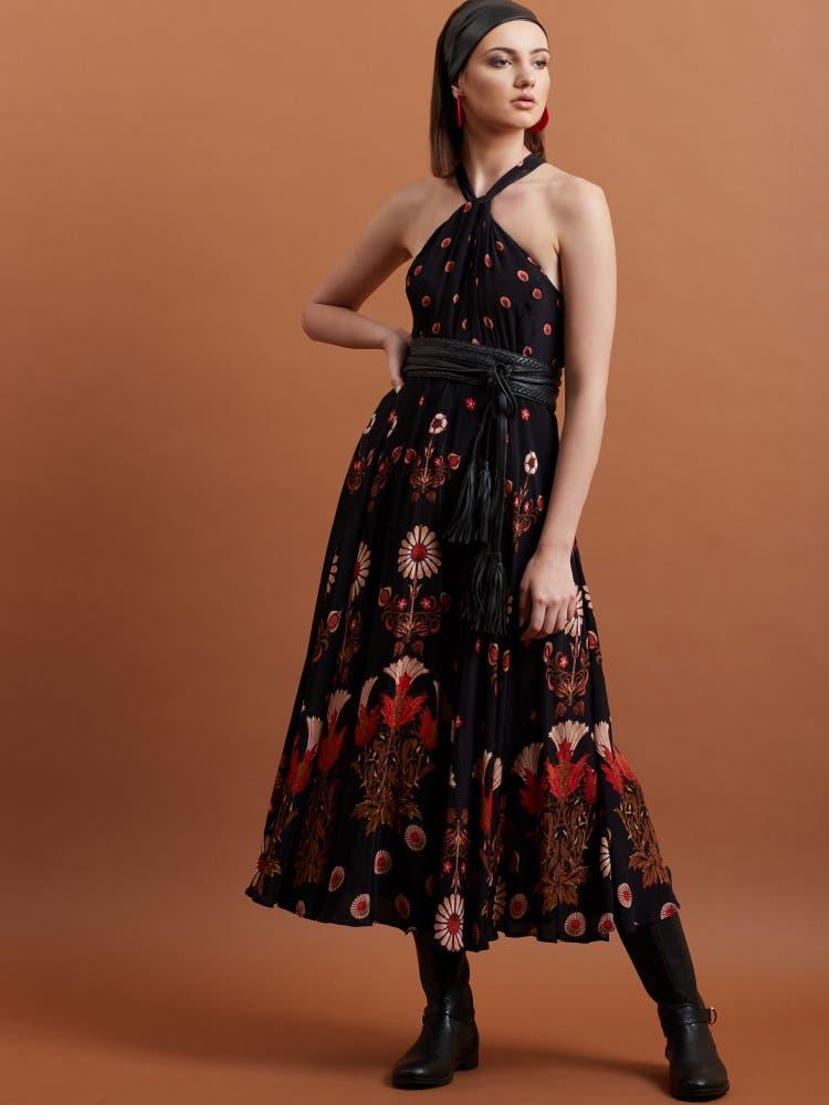 Black Floral Halter Dress