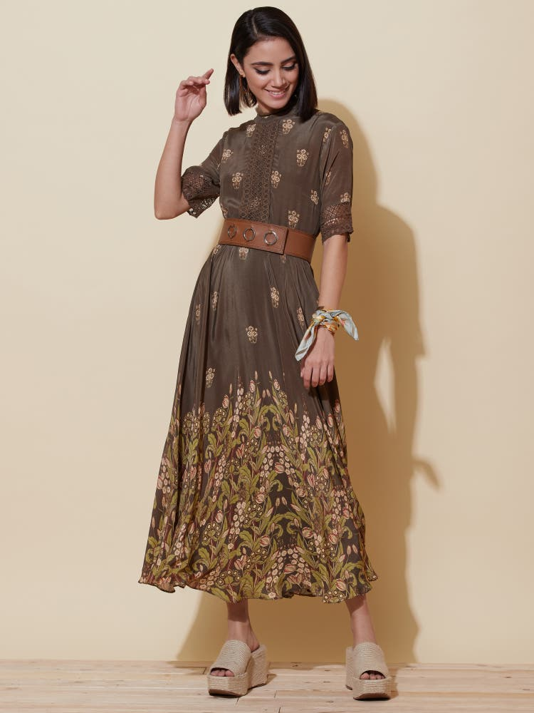 Brown Printed Long Dress with Lace Inserts