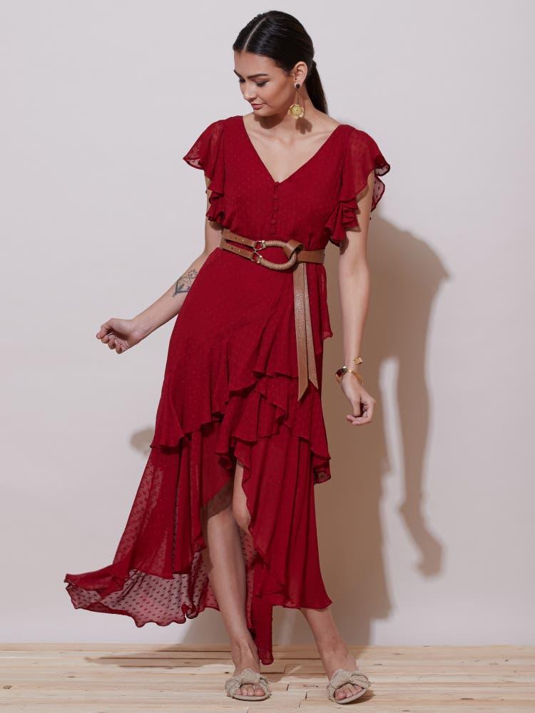 Red Ruffle Asymmetric Long Dress