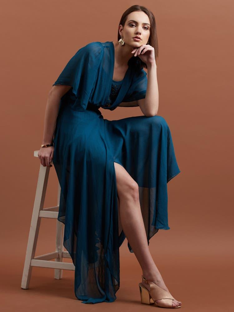 Teal Blue Asymmetric Long Dress