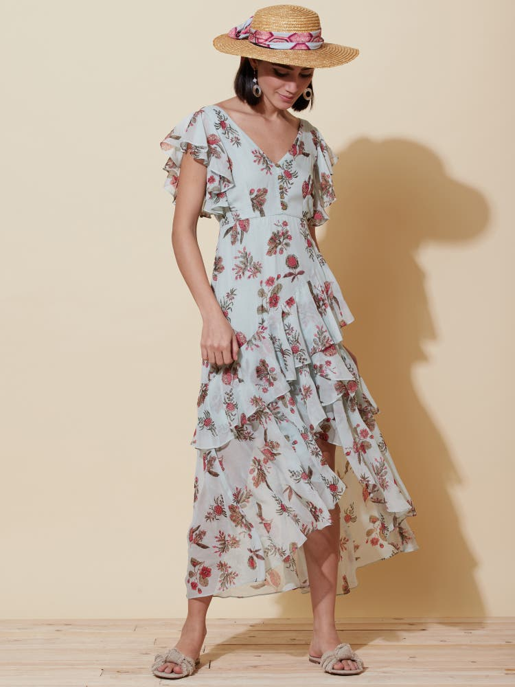 Blue Floral Asymmetric Ruffle Dress