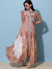 Ecru Floral Print Ruffle Long Dress