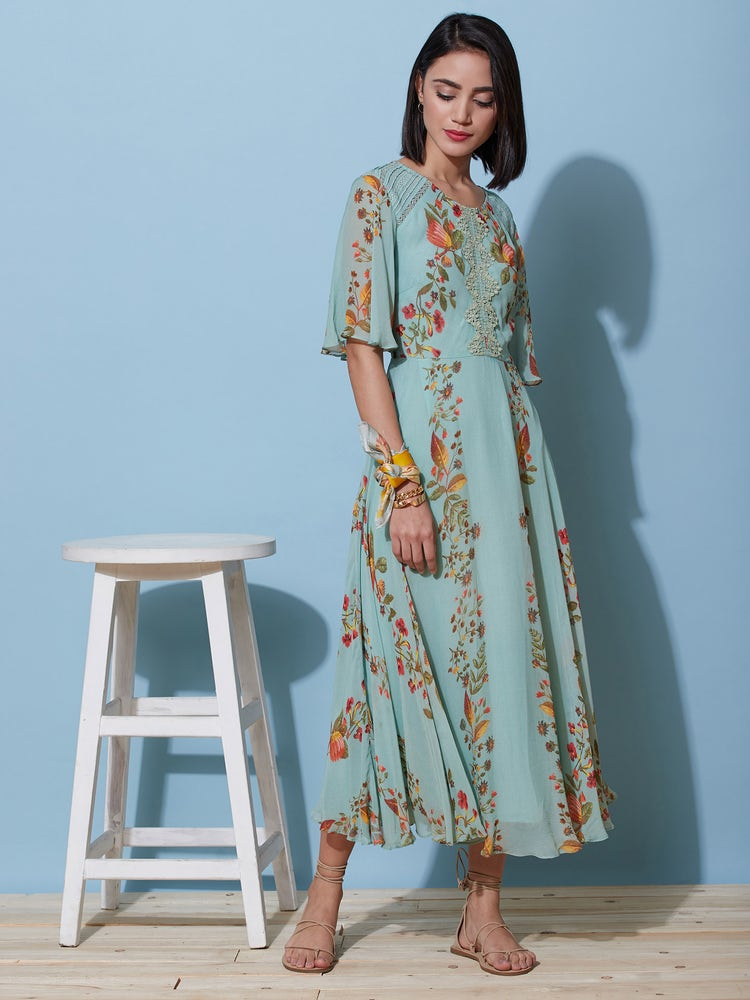 Mint Floral Long Dress