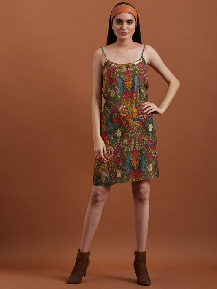 Olive Printed Asymmetrical Dress