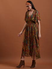 Olive Printed Asymmetrical Dress