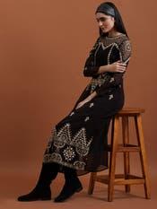 Black Embroidered Midi Dress