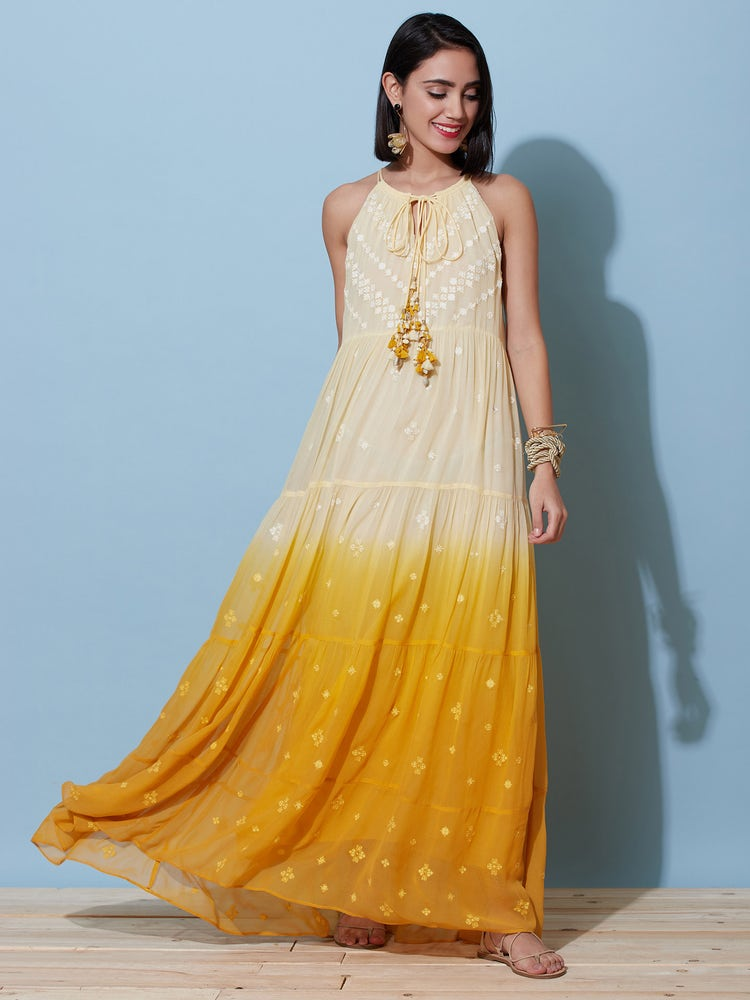 Yellow Ombre Sunset Maxi Dress