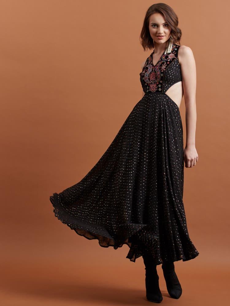Black Embroidered Halter Maxi Dress