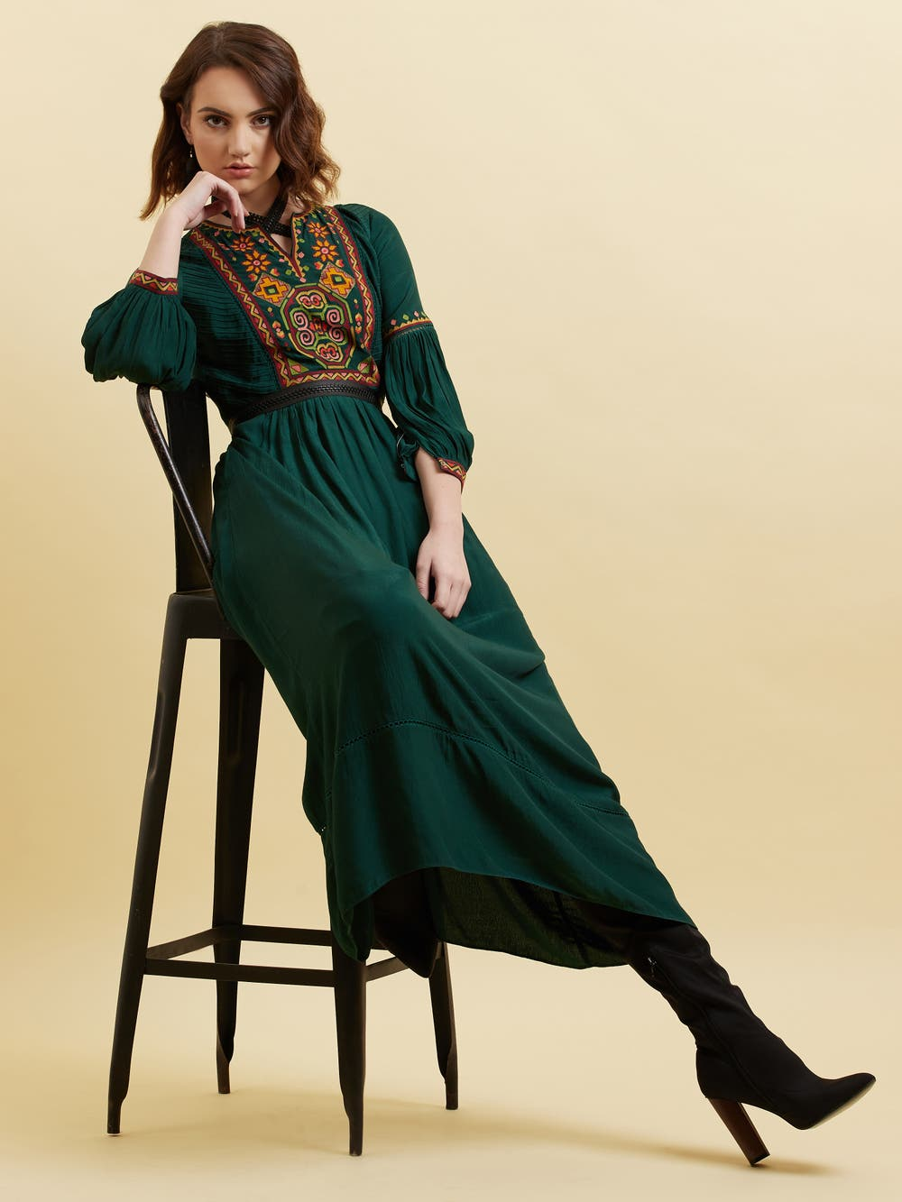 Green Embroidered Long Dress