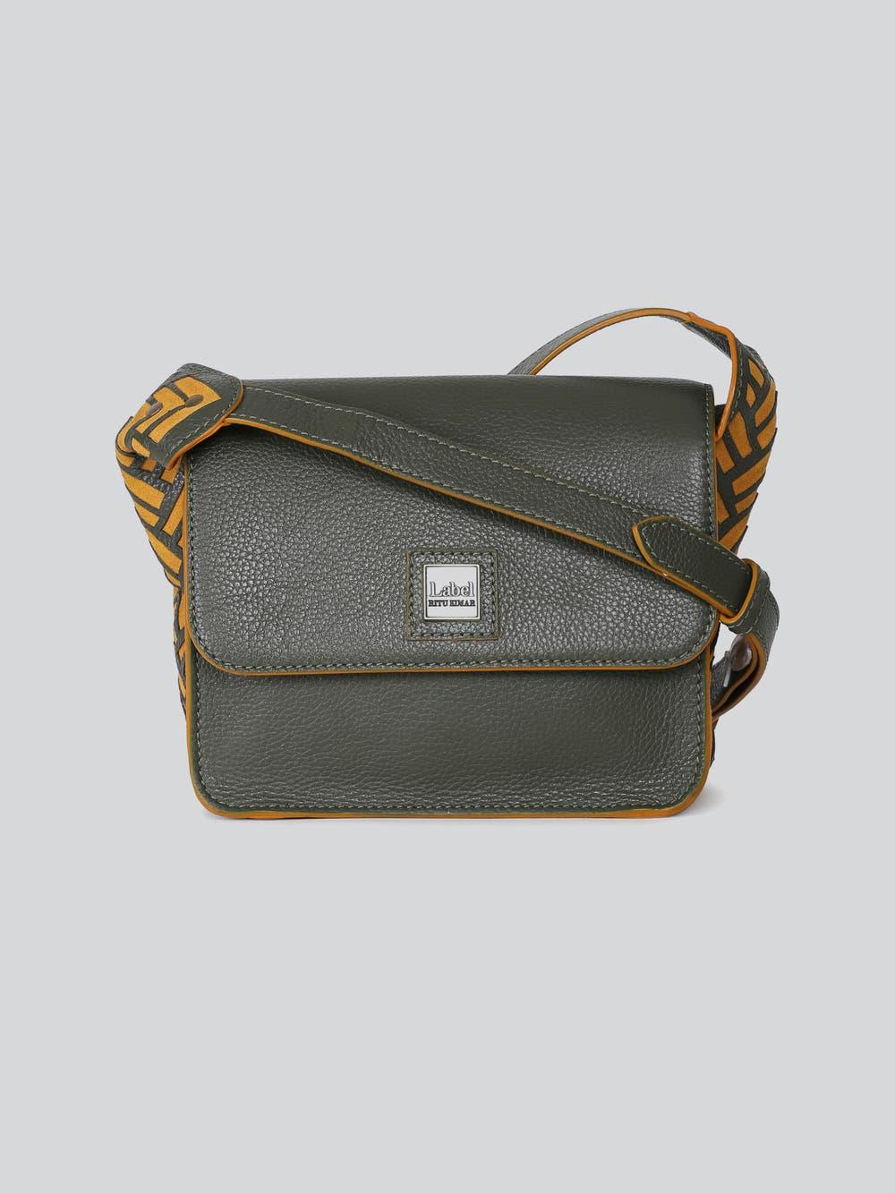 Olive Green Leather Sling Bag