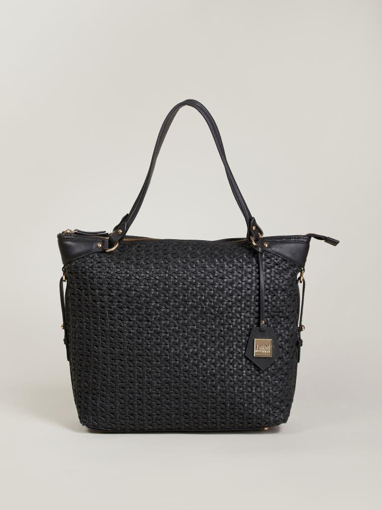 Black Weave Shoulder Bag