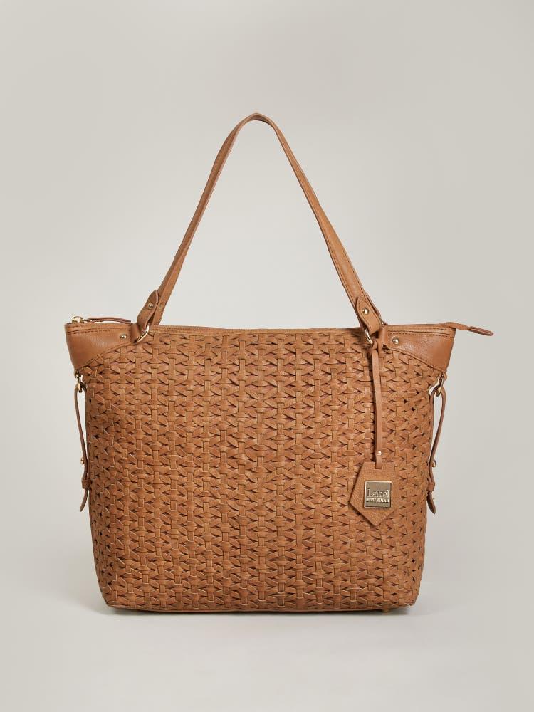 Tan Weave Shoulder Bag