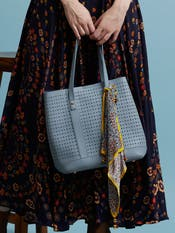 Powder Blue Tote Bag with Scarf