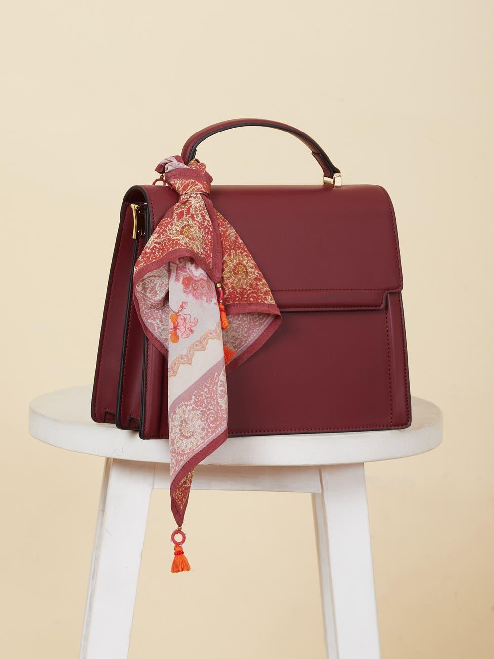 Burgundy Sling Bag with Scarf