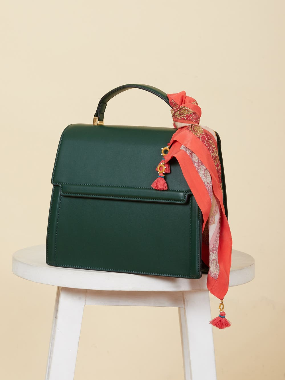 Emerald Green Sling Bag with Scarf