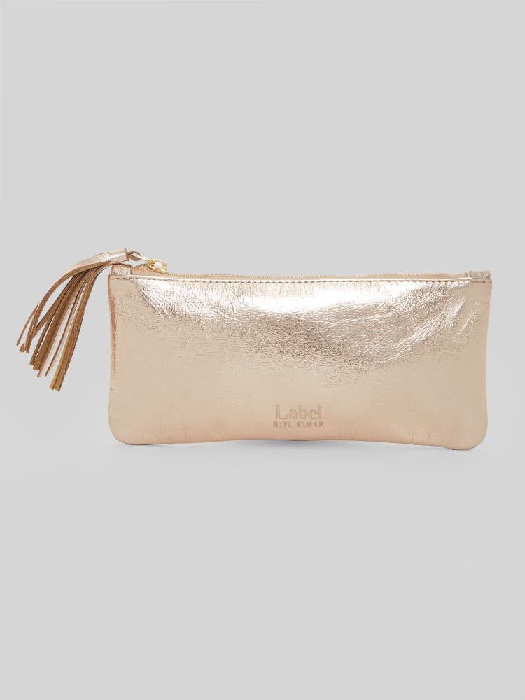 Bronze Leather Zip Pouch
