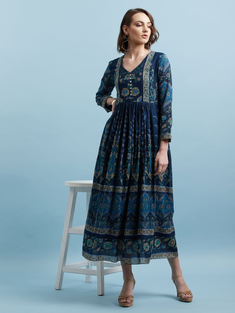 Blue Printed Long Shirt Dress