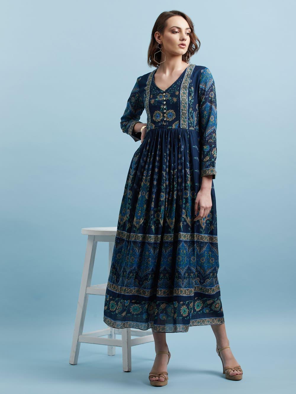 Blue Printed Long Shirt Dress
