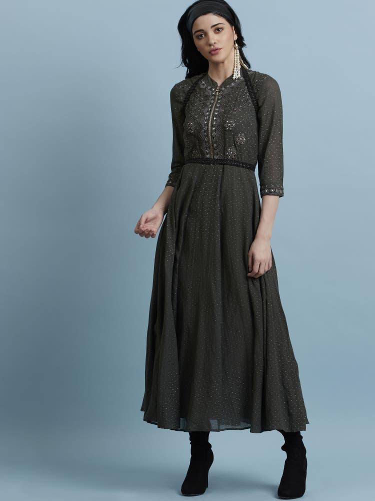 Grey Mirror Work Maxi Dress
