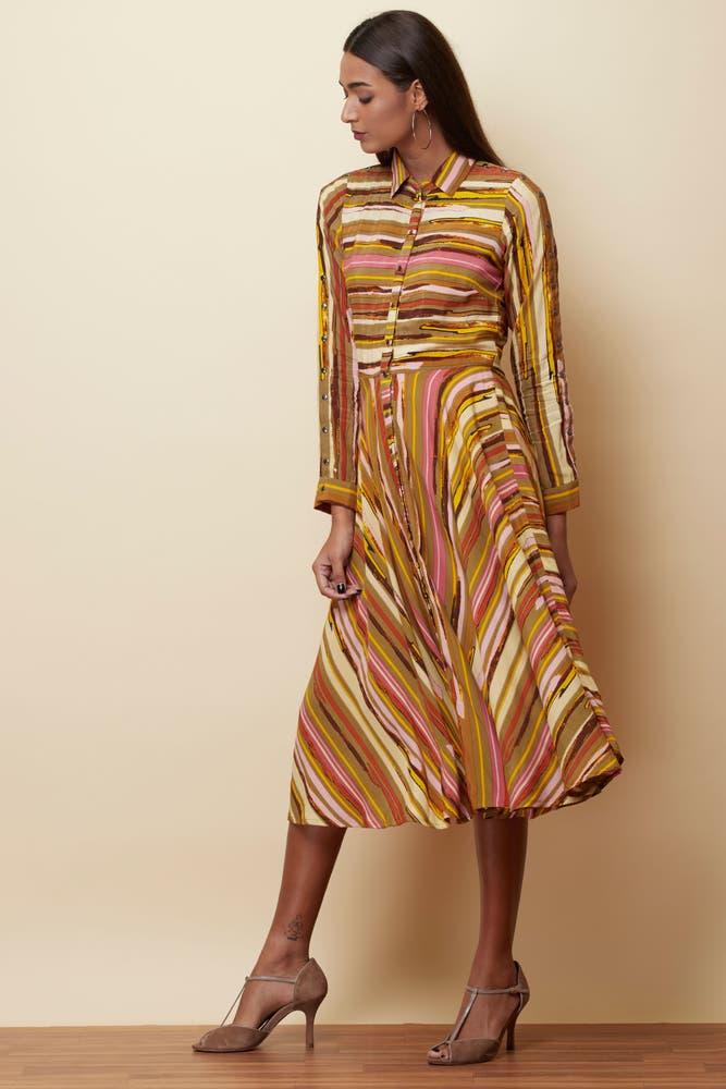 Green Striped Long Dress