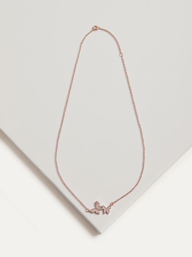 Rose Gold Cubic Zirconia Butterfly Necklace
