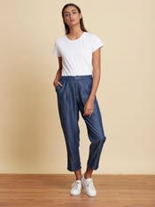 Blue Solid Trousers