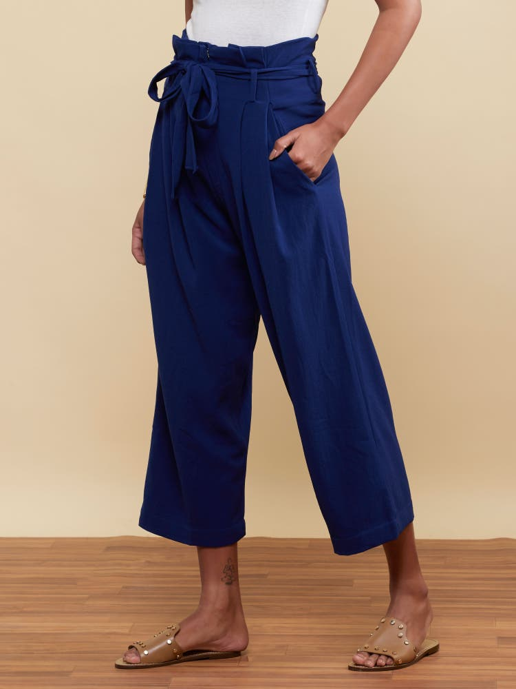 Royal Blue Paperbag Waist Trousers
