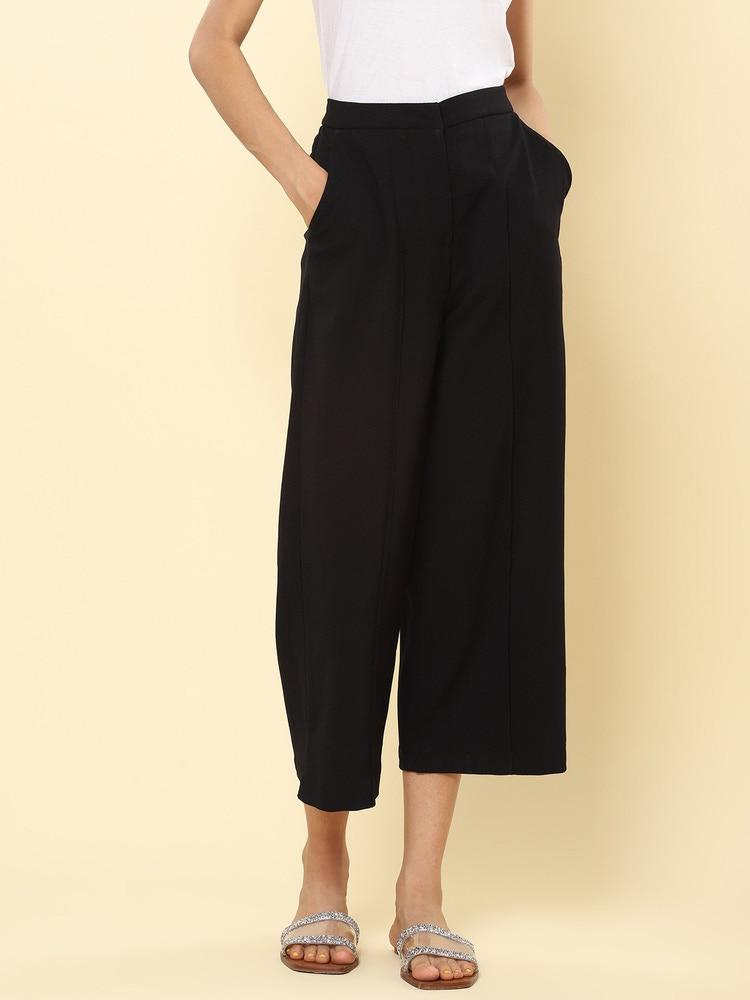 Black Crepe Straight-Legged Pants