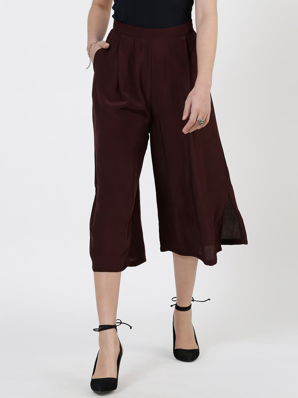 Chocolate Brown Crepe Straight Trousers