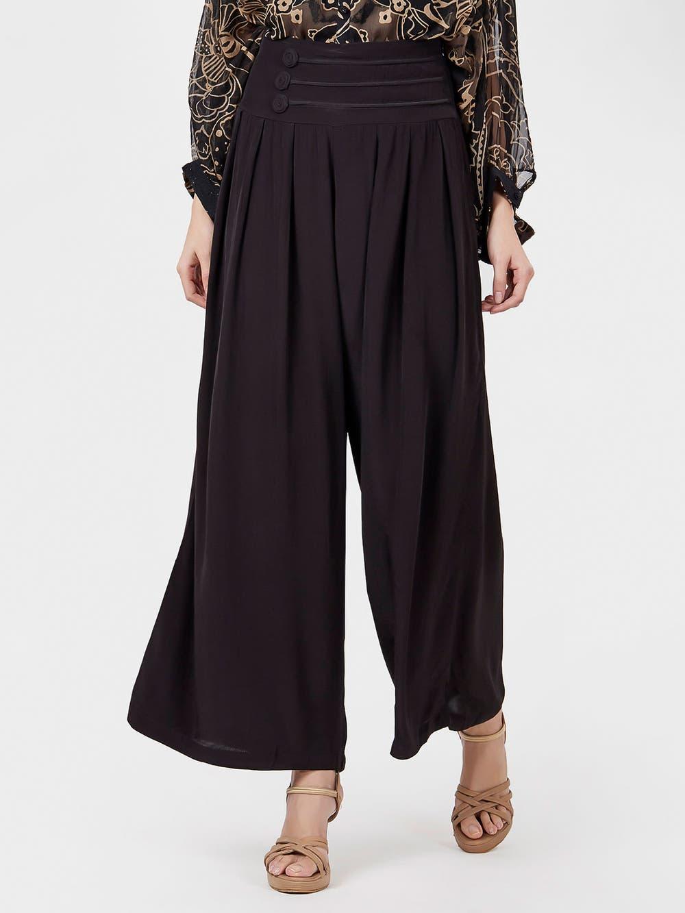 Black Basic Flared Trousers