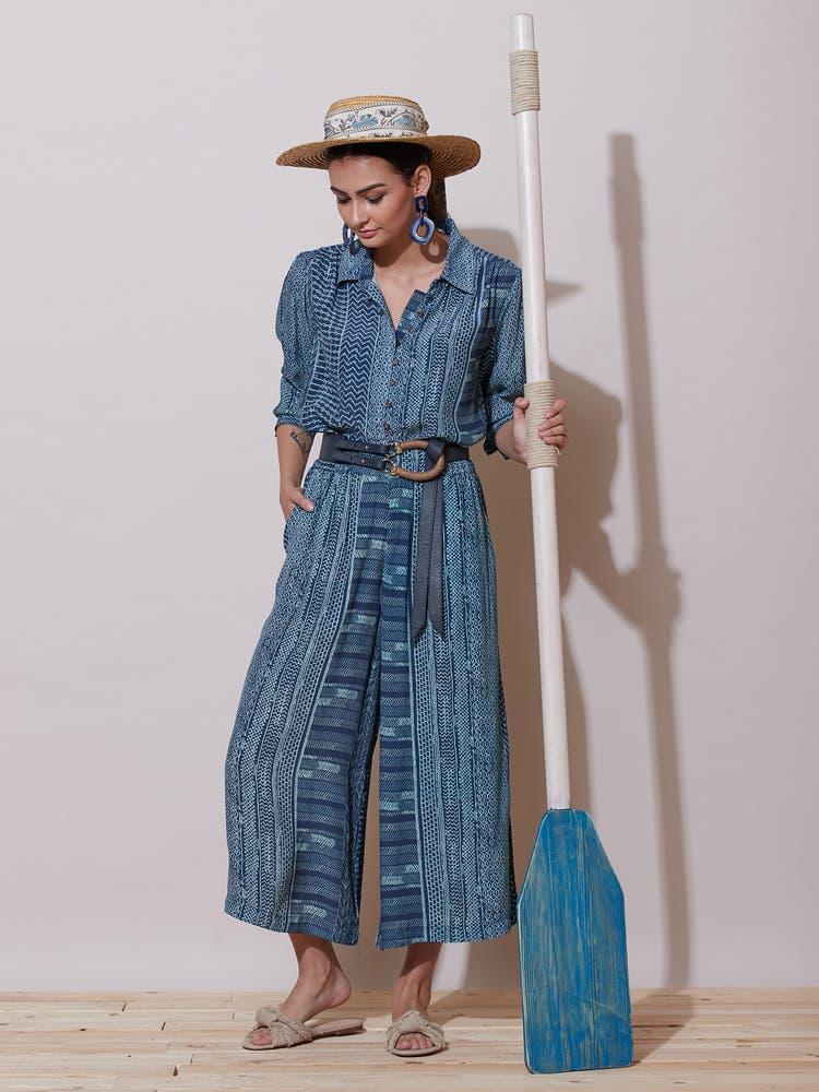 Blue Printed Culottes